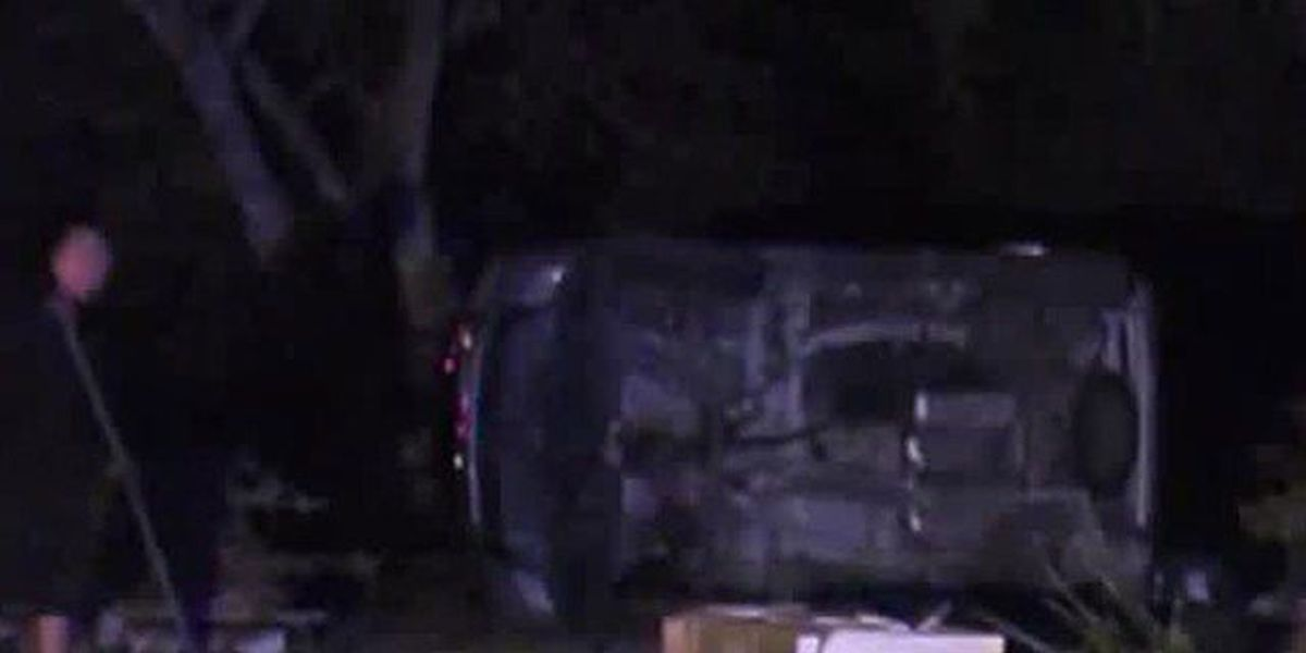 Rollover crash sends 2 people to the hospital